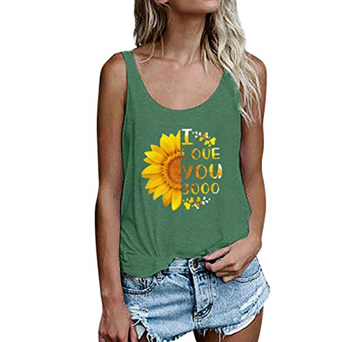 - New in 2019 Respctful✿ Women Sleeveless Tank Top Special I Love You 3000 Shirt Loose Slim Blouse Vest Green