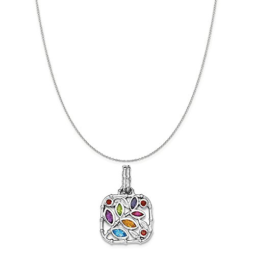 Jewelstone Collection - Sterling Silver Rhodium-Plated Multi Accent Pendant on a Sterling Silver Cable Chain Necklace, 16