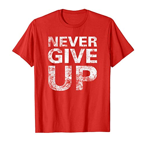 (KLGDA Summer Men's Casual Solid Color Letter Print Short Sleeve T-Shirt - Never GIVE UP Red)