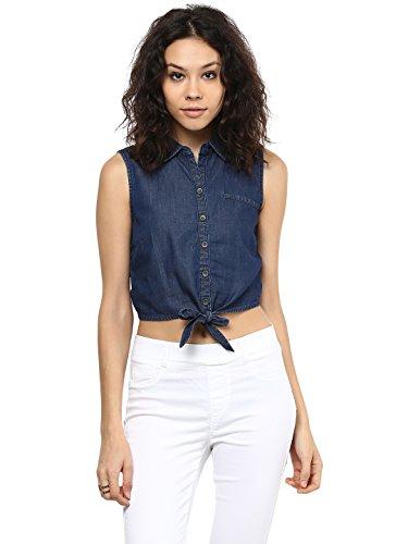 109 F Women Blended Viscose Dark Blue Solid Crop Top