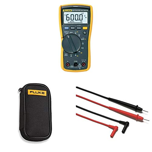 (Fluke 117 Electricians True RMS Multimeter with compact soft case C50 and Corporation FLUTL75 Hard Point Test Lead Set)