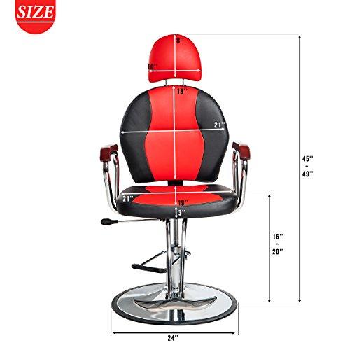 Merax Reclining Hydraulic Barber Chair Styling Salon Beauty Shampoo Spa Equipment (Black&Red) by Merax (Image #6)