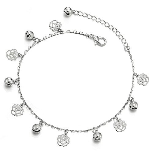 COOLSTEELANDBEYOND Link Chain Anklet Bracelet with Dangling Charms of Rose Flower and Jingle Bell, ()