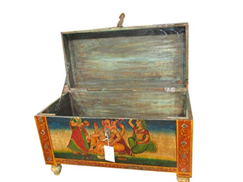 Antique Ganesha Hand Painted Trunk Sideboard Coffee Table
