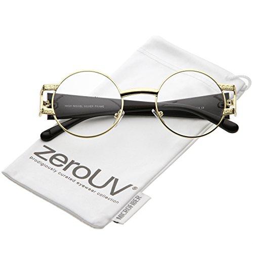 zeroUV - Unique Oversize Detailed Double Crossbar Clear Lens Aviator Eye Glasses 64mm (Gold / - Asos Glasses