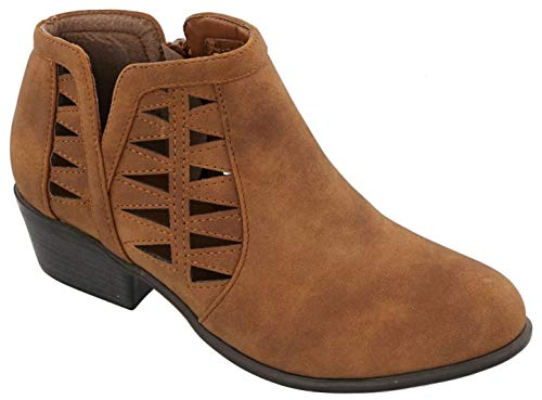 Distressed Childrens Boot Tan - Glenda Tan Vegan Leather Zipper Stacked Low Heeled Work Comfortable Comfy Fashion Botines Tacon Bajo Alto Distressed School Shoe Boot Bootie for Girl Women (Size 10, Tan)