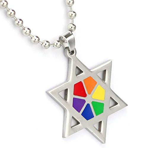 Enamel Star Of David Pendant - Rainbow Ray Star Of David Necklace - Gay & Lesbian LGBT Judaism Pride. LGBT Pride - Gay and Lesbian Pendant. One Necklace & Chain for men or women. Rainbow Pride Jewelry