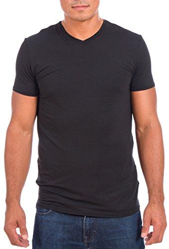 Point Zero Men's Dri-Fit Short Sleeve V-Neck Performance T-shirt (Black,