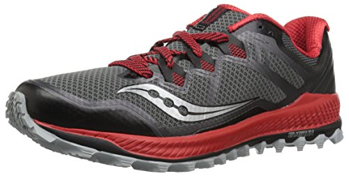 Saucony Men's Peregrine 8 Sneaker, Black/red, 10 M US