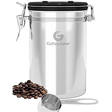 Large Coffee Canister - Ground or Whole Beans Fresher for Longer - FREE eBook & SCOOP worth $7.97 - Premium Quality Stainless Steel Coffee Container by Coffee Gator