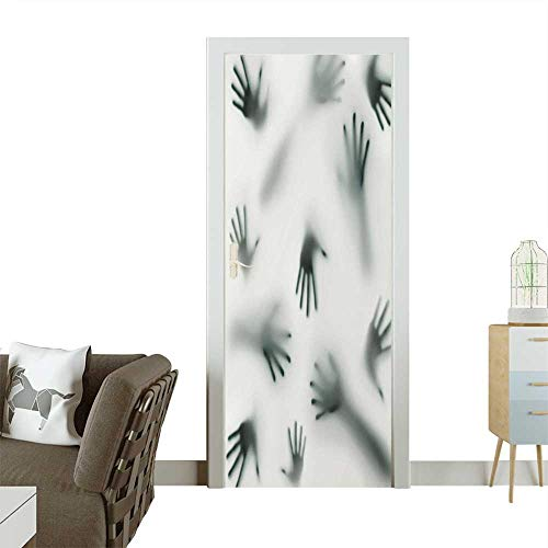 (Door Sticker Wall Decals Frightening Hands Arms Ghost Shadow Alien Spirit Touch Mist Strangers Artwork Grey Easy to Peel and StickW31 x H79)