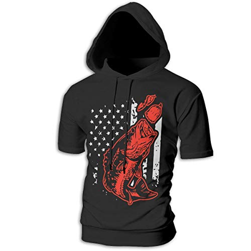 Mens Short Sleeve Bass Fishing Lure and American Flag Hooded Sweatshirt, Warm 100% Cotton Sportswear for Men -