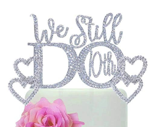 - 10th Anniversary cake topper in gorgeous silver crystal rhinestones