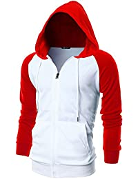 Mens Slim Fit Long Sleeve Lightweight Raglan Zip-up Hoodie With Kanga Pocket