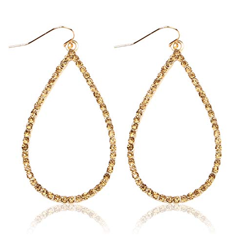 Sparkly Simple Lightweight Geometric Open Hoop Drop Earrings - Cut-Out Dangles Teardrop/Pear/Pointy Oval/Marquise/Circle Cubic Zirconia Crystal/Multi Rhinestone/Acrylic Pearl (Teardrop - Gold Topaz)