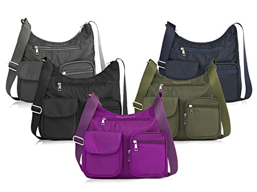 Carryall RFID Crossbody Protection Multi Pocket Blocking Lightweight Shoulder Bag Suvelle Travel BA10 Gris Handbag 5qftwRSA