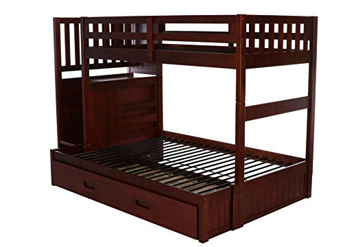 home, kitchen, furniture, bedroom furniture, beds, frames, bases,  beds 2 discount Discovery World Furniture Mission Twin Over Full Staircase deals