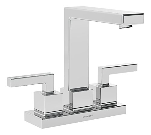 (Symmons Duro Two-Handle 4 Inch Centerset Bathroom Faucet with Pop-Up Drain & Lift Rod, Chrome)