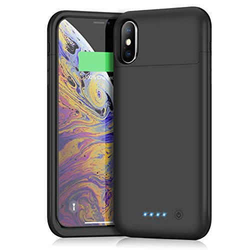 Battery Case for iPhone x/xs, Xooparc 5200mAh Protective Portable Charging Case Rechargeable Extended Battery Pack for Apple iPhone X & XS (5.8) Backup Power Bank Cover -Black