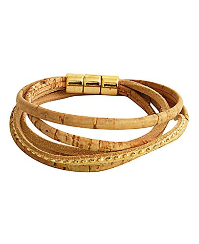 CORX Beyond Leather Designer Handbags Artelusa Cork Double Wrap Bracelet Five Strand Natural Silver Gold Tone Closure Handmade in Portugal