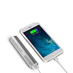 SaveOnMany® 2-in-1 Bright Torch 3200mAh Mini Ultra-Compact Lipstick-Sized Portable Charger External Battery Power Bank for All USB charging devices such as iPhone 6 5S 5C 5 4S, Galaxy S5 S4 S3, Note 4 3, HTC One, most other Phones (Silver)