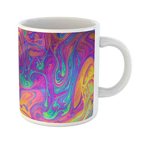 (Semtomn Funny Coffee Mug Colorful Pattern Psychedelic Multicolored Soap Bubble Abstract Yellow Iridescent 11 Oz Ceramic Coffee Mugs Tea Cup Best Gift Or Souvenir)