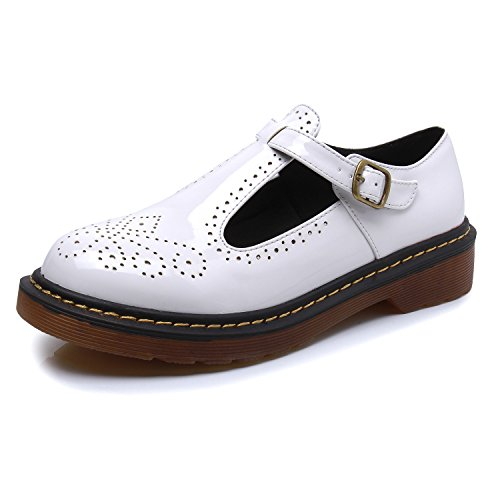 Smilun Lady's T Mary Jane Flats Shoes Classic Buckle Round Toe White T6CVqFrd9a