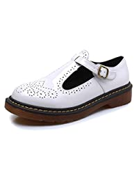 Smilun Lady's T Mary Jane Flats Shoes Classic Buckle Round Toe