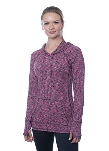 RBX Active Women's Long-Sleeve Space Dye Peached Jersey Hoodie,Hot Pink Combo, X-Large