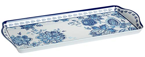 Waverly Floral Heavyweight Melamine Rectangular Serving Tray, 15-Inch x 6.5-Inch - Tray China Serving