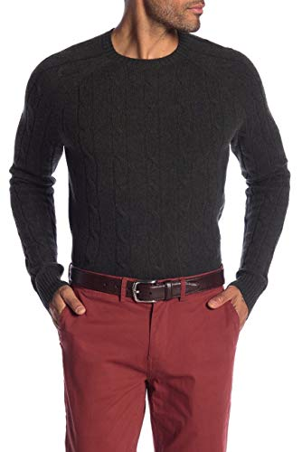 Brooks Brothers Men's Cable Knit Merino Wool Crewneck Pullover Sweater (Dark Green, X-Large) (Cable Crewneck Mens)