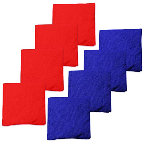 Play Platoon Premium Weather Resistant Duck Cloth Cornhole Bags - Set of 8 Bean Bags for Corn Hole Game - 4 Red & 4 Blue