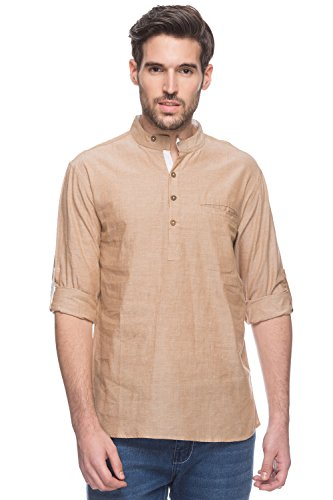 Shatranj Men's Indian Short Kurta Tunic Banded Collar Textured Shirt; Beige; LG by Shatranj