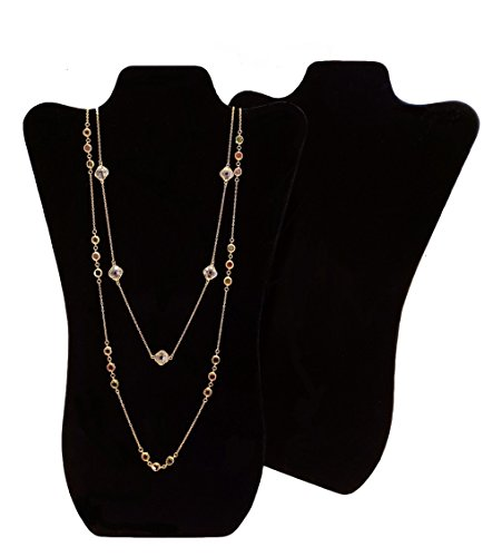 2 pieces Black Velvet Tall Curved Necklace Easel Display 14