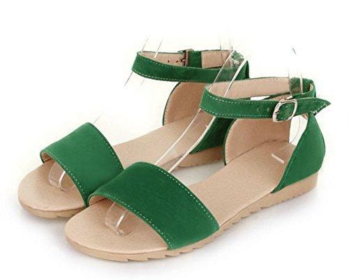 Aisun Women's Simple Comfy Open Toe Ankle Wrap Buckle Strap Dress Beach Flat Sandals Shoes Green 7 B(M) US
