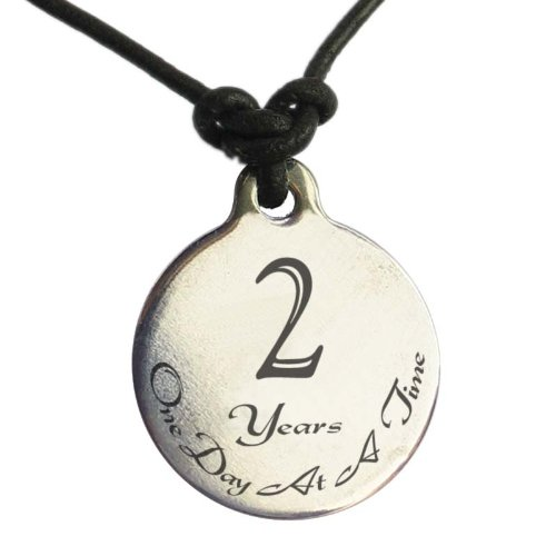 2 Year Sobriety Anniversary Medallion Leather Necklace For Sober