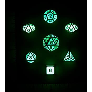 Nicks Dice Metal Glow In The Dark 7 Dice Set For D&D and RPG Games