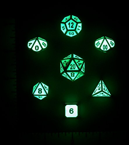 Nicks Dice Metal Glow In The Dark 7 Polyhedral Dice Set for Tabletop DnD D&D and RPG Games