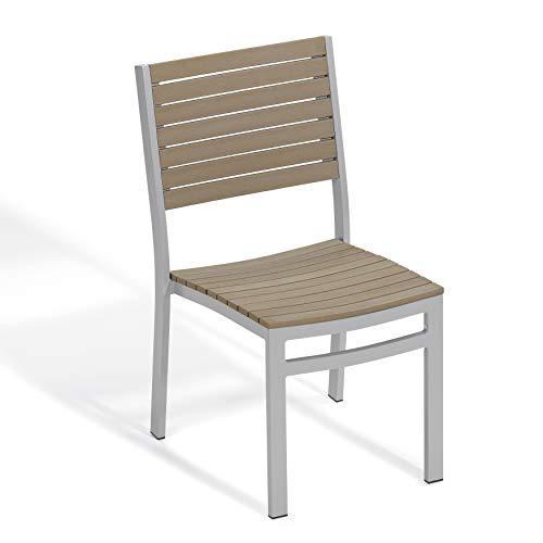 Oxford Garden Travira Side Chair - Powder Coated Aluminum Frame - Vintage Tekwood Seat - Set of ()