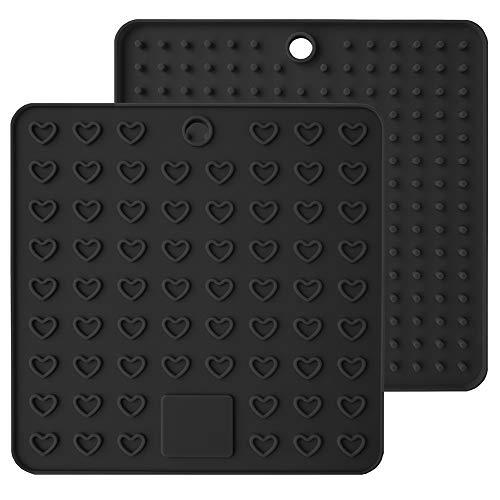Friendgo 2 Pcs Heart-Shaped Multi-Function Drying Drainer Mat Thick Silicone Anti-scalding Anti-fouling Pad