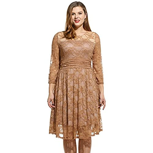 Meaneor Womens Plus Size Lace Dresses Cocktail Wedding Dress, Brown, 4XL
