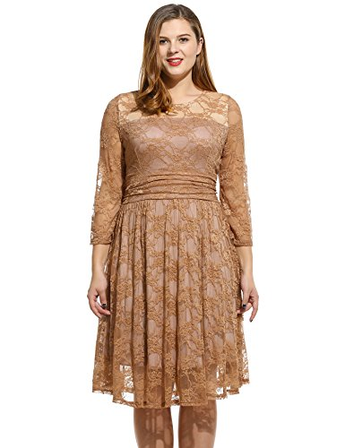 Meaneor Women's Plus Size Lace Dresses Cocktail Wedding Dress, Brown, 3XL