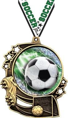 """Soccer Medals–3""""ダブルアクションSoccer Medals byクラウンAwards Prime"""