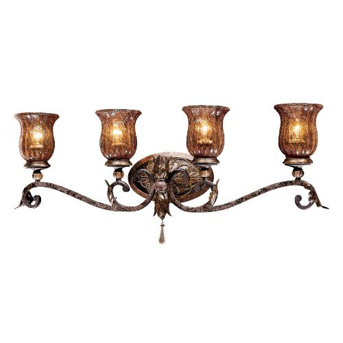 Metropolitan Sanguesa Collection N6074-194 4-Light Vanity Light, Sanguesa Patina Finish with Vidrio Artistico Glass by Metropolitan Lighting Fixture Co.