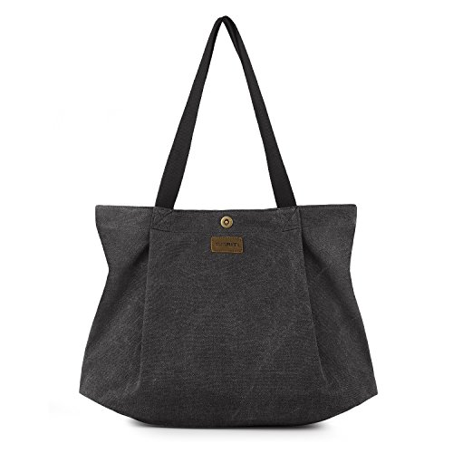 SMRITI Canvas Tote Bag for Women School Work Travel and Shopping - Black