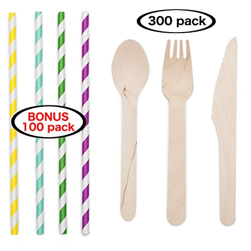 Disposable Wooden Cutlery Set of 300 pcs (100 Forks, 100 Knives, 100 Spoons Utensils Combo Kit), 6.5 inches, 100% Natural Silverware. Bonus Paper Straws 100 pcs, 8 inches, Assorted Colors, (Natural Color Straw)