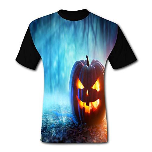 Ghosts, Smiley Faces, Pumpkins Black Short-Sleeved Fashion T-Shirt M -
