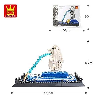 WANGE MERLION Statue-Singapore Mini Model Building Blocks Bricks STEM Enginering Toy: Toys & Games