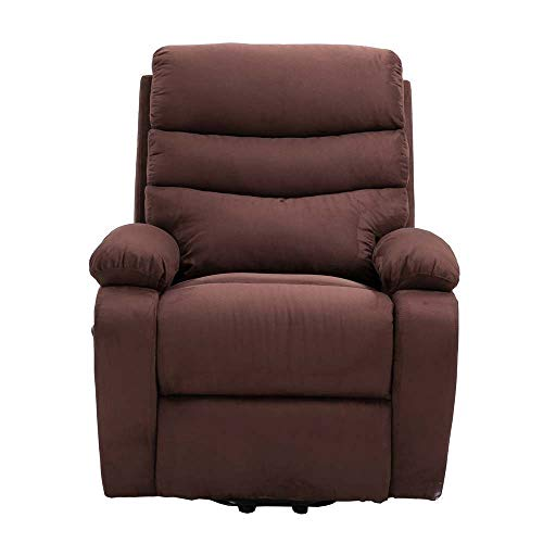 Homegear Microfiber Power Lift Electric Recliner Chair with Massage, Heat and Vibration with Remote Brown