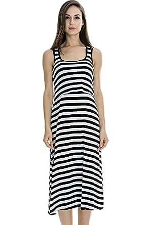 Bearsland Women's Long Style Nursing Breastfeeding Dress,Black,Medium